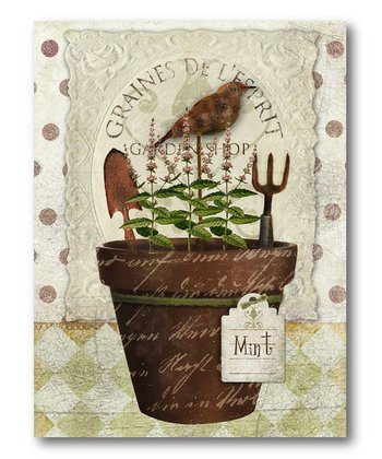 Herb Pot 'Mint' Canvas Wall Art