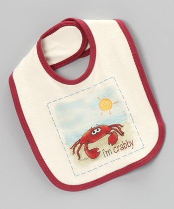 Natural & Red 'I'm Crabby' Organic Bib