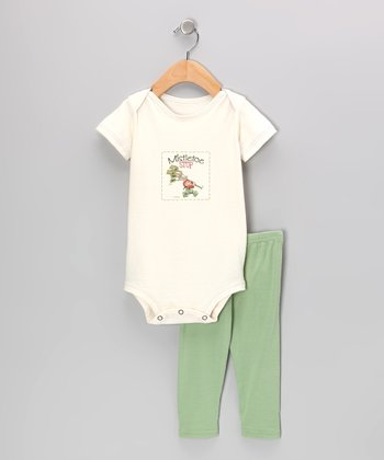 Natural 'Mistletoe Stop' Organic Bodysuit & Kiwi Pants - Infant
