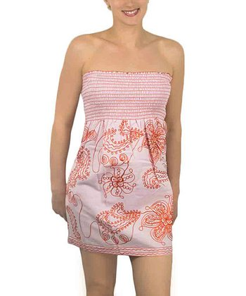 Pink & Orange Shirred Strapless Dress