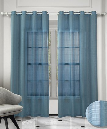 Blue Crystal Curtain - Set of Two