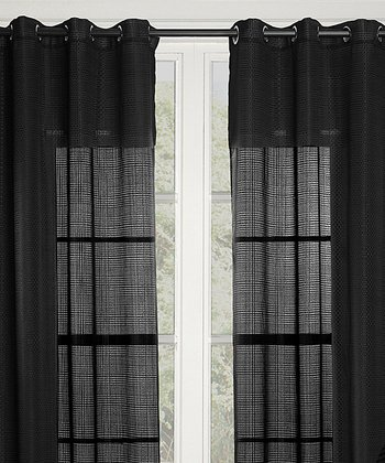 Black Crystal Curtain Panel - Set of Two