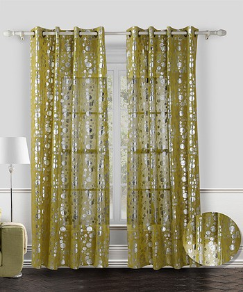 Green Spotlight Curtain - Set of Two
