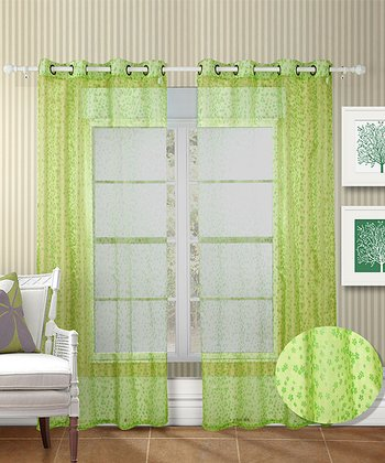 Lime Green & Dark Green Twinkle Curtain - Set of Two
