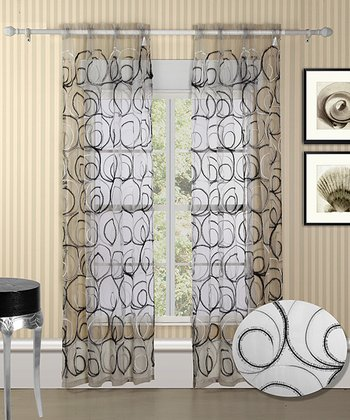 White & Silver Evelyn Curtain Panel - Set of Two
