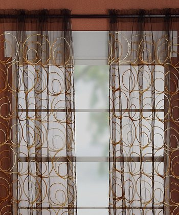 Gold & Brown Evelyn Curtain - Set of Two