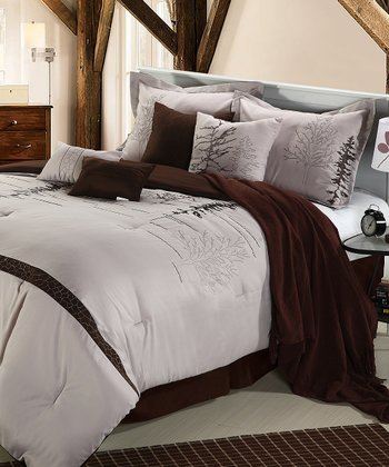 Brown Vines Queen Comforter Set