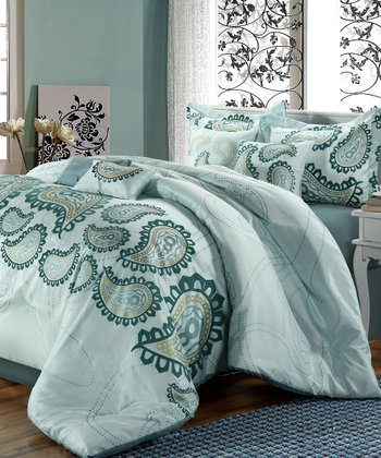 Aqua Blue Taj Embroidered Comforter Set