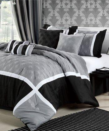 Black Quincy Embroidered Comforter Set