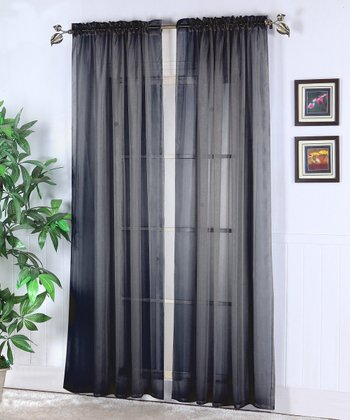 Black Abby Sheer Voile Curtain - Set of Two
