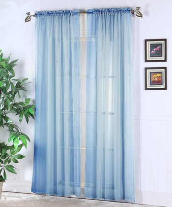 Blue Abby Sheer Voile Curtain Panel - Set of Two