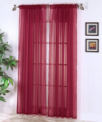 Burgundy Abby Sheer Voile Curtain Panel - Set of Two