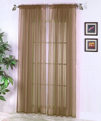 Coffee Abby Sheer Voile Curtain Panel - Set of Two