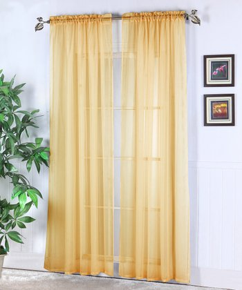 Gold Abby Sheer Voile Curtain - Set of Two