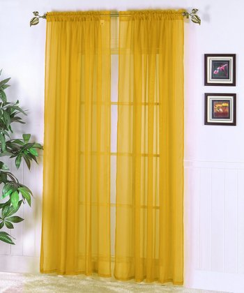 Mustard Abby Sheer Voile Curtain Panel - Set of Two