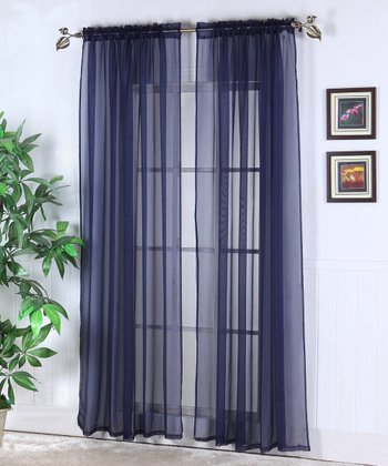 Navy Abby Sheer Voile Curtain Panel - Set of Two