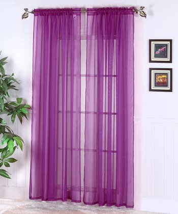 Purple Abby Sheer Voile Curtain - Set of Two