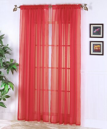 Red Abby Sheer Voile Curtain Panel - Set of Two