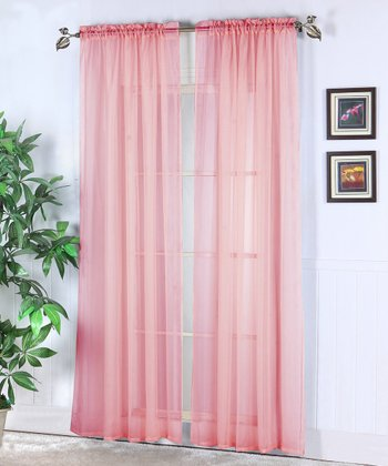 Rose Abby Sheer Voile Curtain Panel - Set of Two