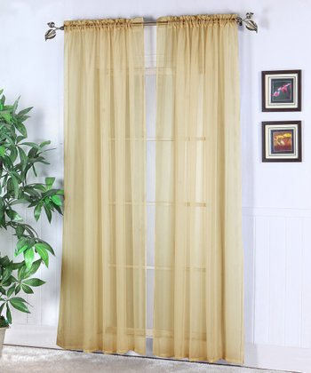 Sand Abby Sheer Voile Curtain Panel - Set of Two