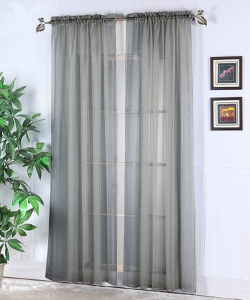 Silver Abby Sheer Voile Curtain Panel - Set of Two
