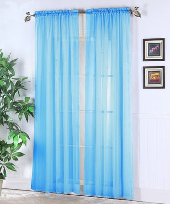 Sky Blue Abby Sheer Voile Curtain Panel - Set of Two