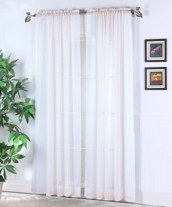 White Abby Sheer Voile Curtain - Set of Two