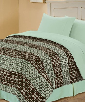 Sage & Brown Beautiful Circles Reversible Comforter