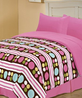 Pink Beautiful Dots Reversible Comforter