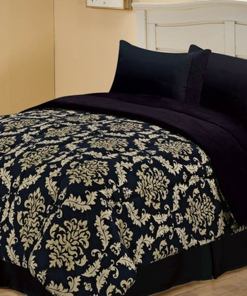 Black Beautiful Jacobean Reversible Comforter