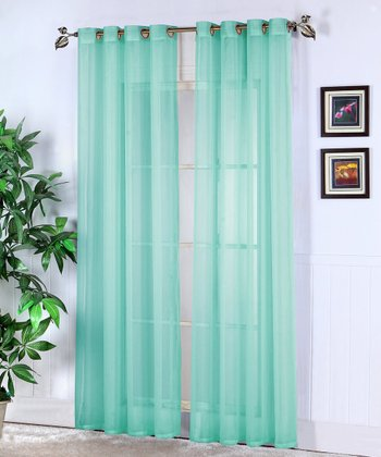 Aqua Jessy Sheer Voile Curtain Panel - Set of Two