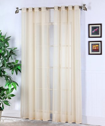 Beige Jessy Sheer Voile Curtain Panel - Set of Two