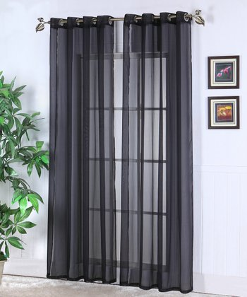 Black Jessy Sheer Voile Curtain Panel - Set of Two