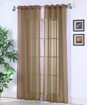Coffee Jessy Sheer Voile Curtain Panel - Set of Two