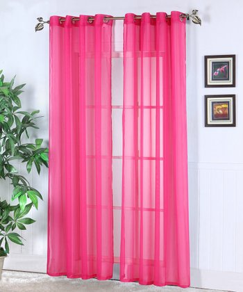 Fuchsia Jessy Sheer Voile Curtain Panel - Set of Two