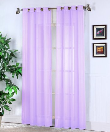 Lilac Jessy Sheer Voile Curtain Panel - Set of Two
