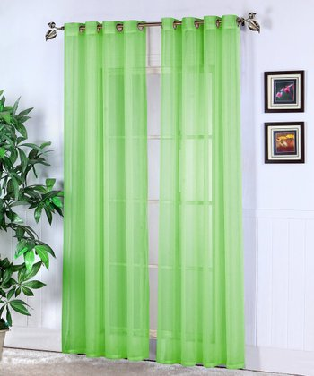 Lime Green Jessy Sheer Voile Curtain Panel - Set of Two