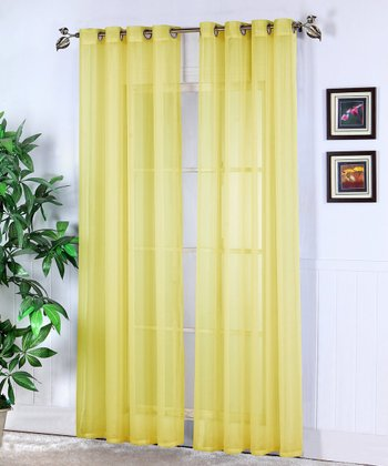 Neon Yellow Jessy Sheer Voile Curtain Panel - Set of Two