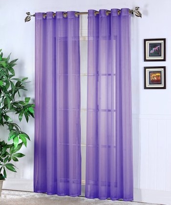 Purple Jessy Sheer Voile Curtain Panel - Set of Two