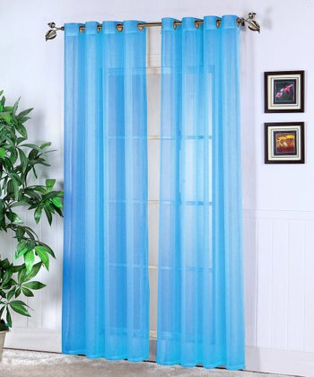 Sky Blue Jessy Sheer Voile Curtain Panel - Set of Two