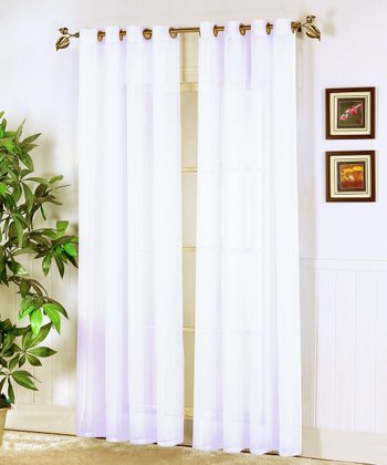 White Jessy Sheer Voile Curtain Panel - Set of Two