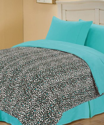 Blue Beautiful Leopard Reversible Comforter