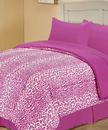 Pink Beautiful Leopard Reversible Comforter