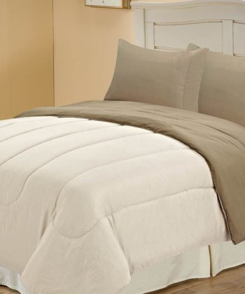 Beige & Taupe Beautiful Microfiber Reversible Full Comforter