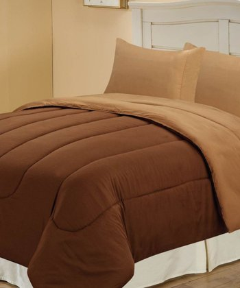 Chocolate & Latte Beautiful Microfiber Reversible Full Comforter