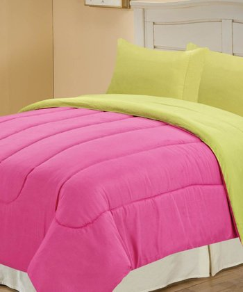 Fuchsia & Lime Beautiful Microfiber Reversible Comforter