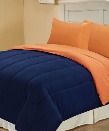 Navy & Orange Beautiful Microfiber Reversible Queen Comforter