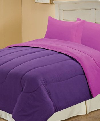 Purple & Plum Beautiful Microfiber Reversible Comforter