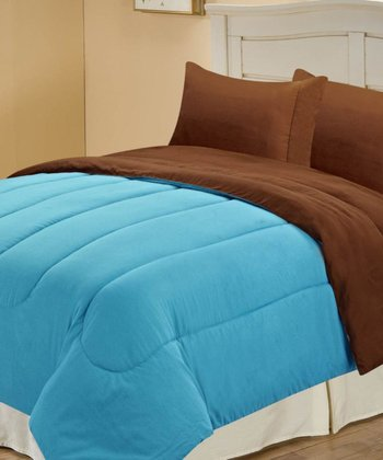 Turquoise & Chocolate Beautiful Microfiber Reversible Comforter