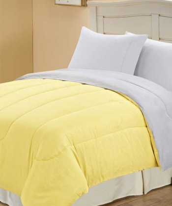 Yellow & Gray Beautiful Microfiber Reversible Comforter